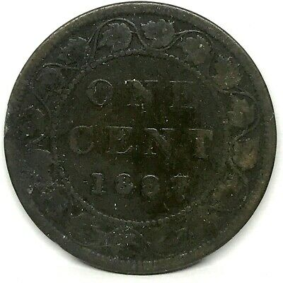 1887 Canada 1 CENT  large one penny Bronze coin Queen Victoria. KM#7