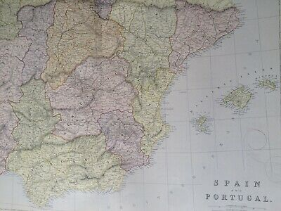 1882 Spain & Portugal Original Antique Map Vintage Old Iberian Peninsula