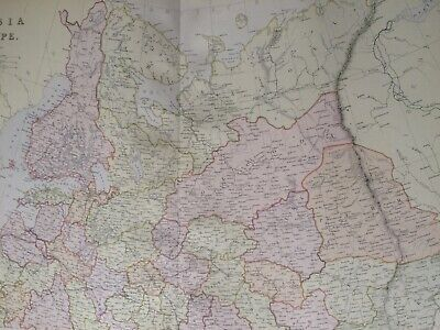 1882 Russian in Europe (North) Original Antique Map Baltics Lithuania Finland