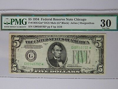 Fr 1956-Gm* 1934 $5 Chicago Federal Reserve Mule Star Note PMG Very Fine 30