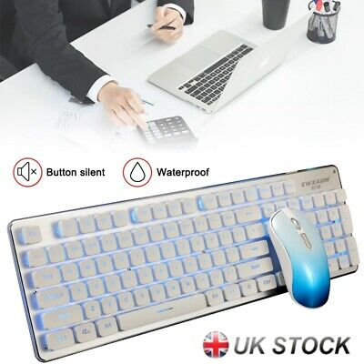 GLK350 Wireless Rechargeable Backlight Gaming Slim PC Keyboard 1200DPI Mouse Set