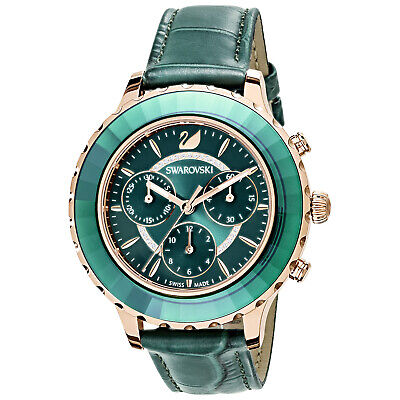 Swarovski 5452498 Octea Chrono Watch, Leather Strap, Green, RG Tone  RRP $649