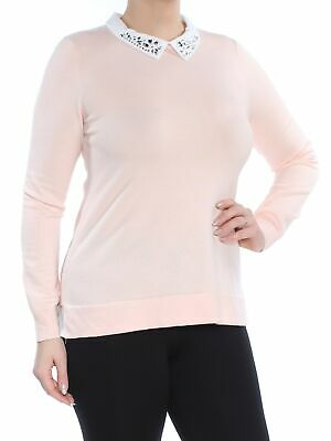 edcdff59f36 TOMMY HILFIGER  79 Womens Pink Rhinestone-Embellished Layered-Look Sweater  M B+B