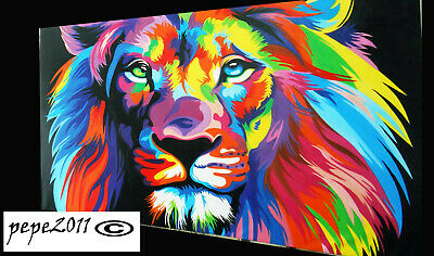 Framed Print Canvas pop Art  rainbow lion painting wall decor Australia