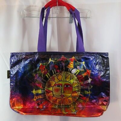 Laurel Burch Dog Tales Bright Purple Red Canvas Medium Satchel Tote Handbag NWT
