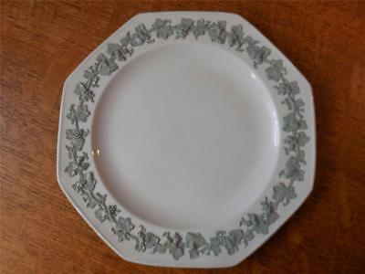 "Wedgwood FIVE Embossed Queensware celadon on cream 8"" octagonal plates"