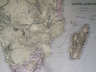 1882 Southern Africa Original Antique Map South Africa Madagascar Mozambique