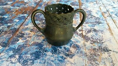 Antique Meriden Silver Plate Co Two Handled Cup Quadruple Plate 094 Rope Design