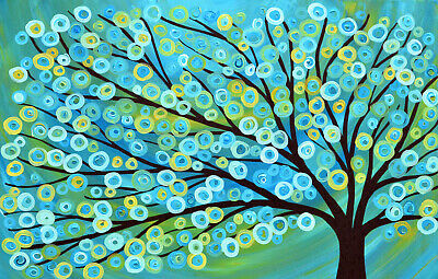 Framed Print Canvas green blue flower tree blossom modern painting wall decor