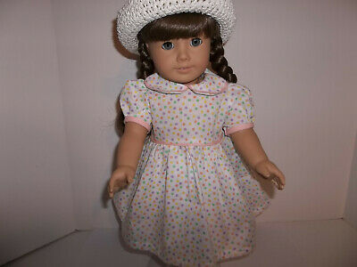 """Polka Dot Spring Dress with Hat made for 18"""" American Girl Doll Clothes New"""