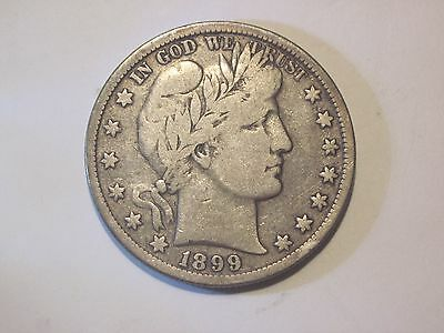 Circulated Uncertified Silver 1899 Barber / Liberty Half Dollar Ungraded