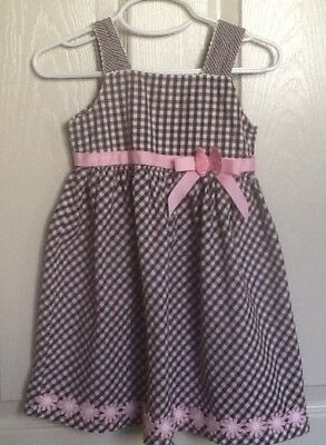 Blueberry Boulevard ~ Brown & White ~ Pink Accent Flowers ~ Sun Dress ~ Size 3T
