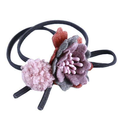Girl Hair Rope Small Fresh And Brief Personality Flower Plush Ball Hair Ring DT