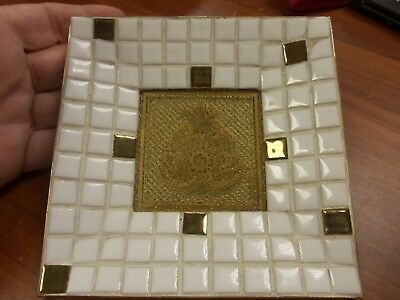 Georges Briard Mid-Century Mosiac Tile Tray Dish White & Gold Medallion SIGNED