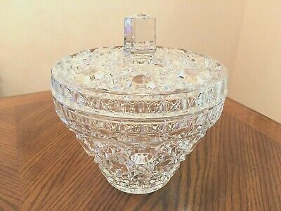 Rare Antique BACCARAT Pierreries Hobnail Diamond Cut Crystal Candy Dish w/Lid