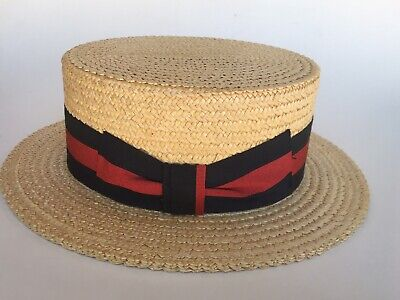 STRAW BOATER SKIMMER HAT Size 7 Florence ITALY RED NAVY BAND