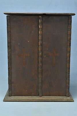 Antique DECORATIVE SMALL DOUBLE DOOR TABLE TOP OAK CABINET CUPBOARD OLD #06268