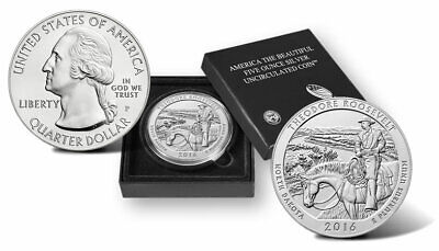 2016 P America the Beautiful 5 Oz Silver Uncirculated Coin Theodore Roosevelt NP