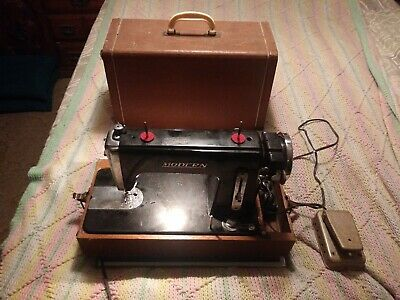 Vintage Modern super deluxe precision sewing machine w/case, parts or repair