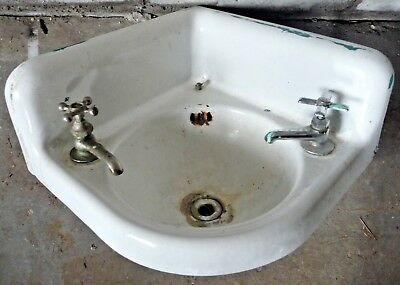 Antique Victorian Corner Bathroom Lavatory Sink - C. 1915 Architectural Salvage