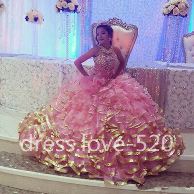 PLUS SIZE 2019 Pink gold edge Sweet 16 Quinceanera Dresses Beading ...
