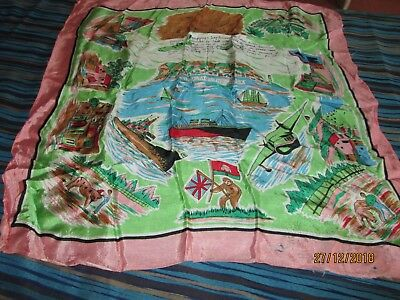 """VINTAGE SILK? SCARF-TRAVEL. AIRLINES""""GIBRALTAR the ROCK"""" 1950's.VGC- For Age."""