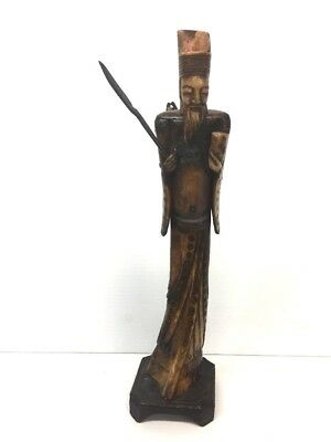 Antique Chinese Carved Wood and Bone Statue of Man Fisherman