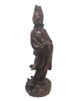 Antique Chinese Carved Rosewood Figurine Woman Beauty