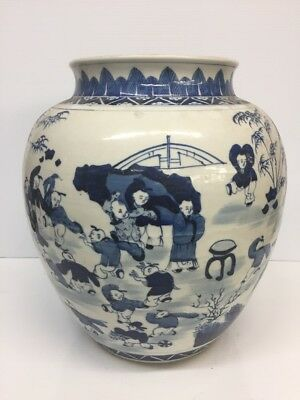 Antique Chinese Blue and White Porcelain Vase Jar 14 3/4'' Tall