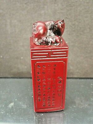 Chinese Shoushan Carved Seal Red Bloodstone