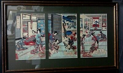 Antique Japanese Woodblock Print Triptych Signed Migita Toshihide Framed,Rare...