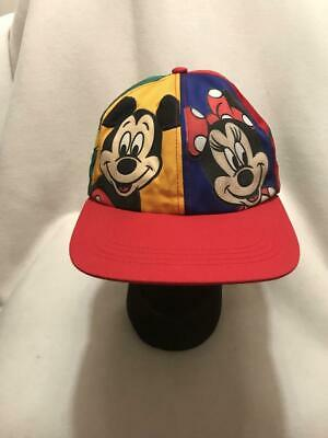 Vtg Mickey Minnie Mouse Goofy Pluto Disney Multi Color Snapback Hat Cap