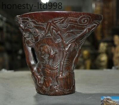 """6""""Marked Old China Ox Horn carving Pine trees Bamboo Deer Animal cup wine vessel"""