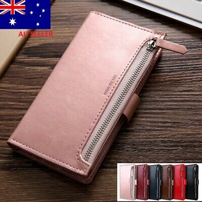 For iPhone XR X XS Max 7 8 Plus Zipper Leather Wallet Card Case Cover Zandy