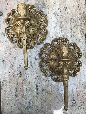 2 Vtg Rococo Mid Century Burwood Gold  Wall Sconce Candle Stick Taper Holders