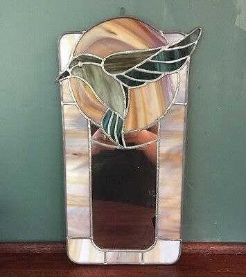 "VINTAGE ART STAINED GLASS Hummingbird BIRD MIRROR Hanging Window Or Wall 18"" Ant"