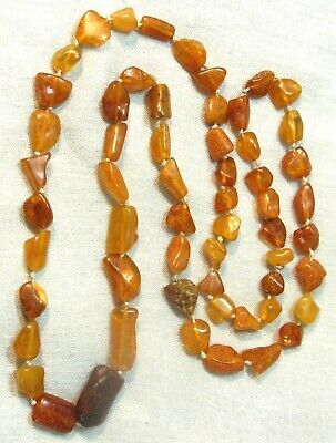 VINTAGE RUSSIAN GENUINE MULTI COLOR BALTIC AMBER LONG NECKLACE    o10