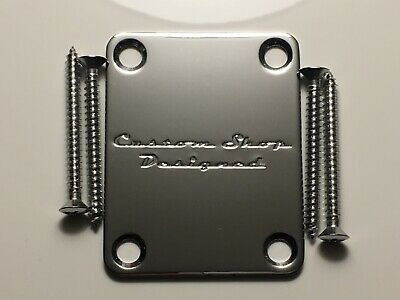 Custom guitar neck plate to fit fender tele and strat guitars Chrome