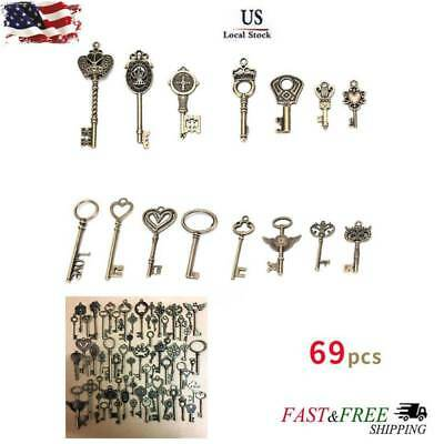 69pcs Antique Vintage Old Look Bronze Skeleton Keys Fancy Heart Bow Pendant New