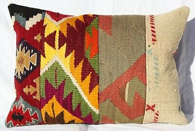 "TURKISH KILIM RUG LUMBAR PILLOW CUSHION COVER HAND WOVEN WOOL 19"" x 14"""
