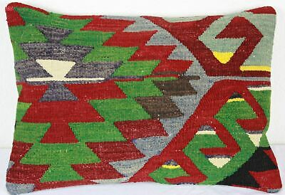 Turkish Kilim Lumbar Pillow 20x14, Kilim Rug Lumbar Cushion Cover