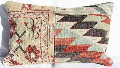 "TURKISH KILIM RUG LUMBAR PILLOW CUSHION COVER HAND WOVEN WOOL 20"" x 12"""