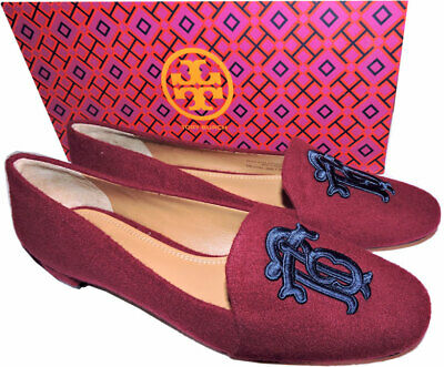 94a1b5588f1 Tory Burch Antonia Monogram Loafer Ballet Flats Ballerina Shoe Burgundy Blue  7.5
