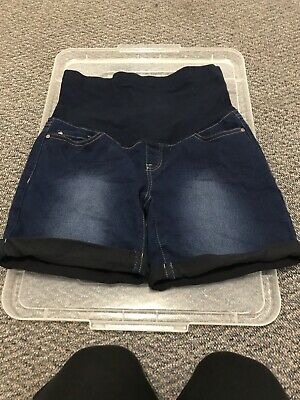 Maternity Denim Shorts Size 8. Bub2Be Brand EUC