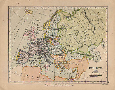 1899 Victorian Double Sided Map ~ Europe (1810) ~ Russian Campaign Leipzig