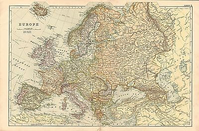1908 LARGE VICTORIAN MAP ~ EUROPE ~ BRITISH ISLES FRANCE SPAIN ICELAND ITALY etc