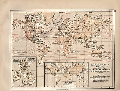 1897 Victorian Map Climatological Chart ~ Showing Mean Temerature For July