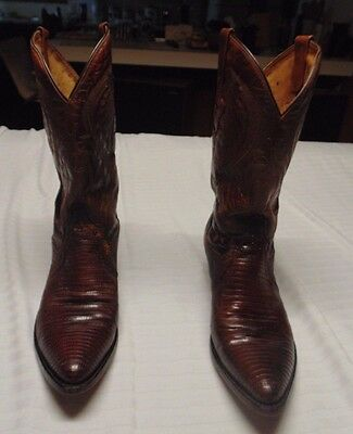 67fe98a7ef8 RESISTOL RANCH MENS Black Cherry Lizard Cowboy Boots