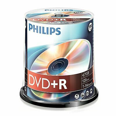 100 x Philips DVD+R Blank Recordable Discs 4.7GB 120 Mins 16x Speed Spindle Pack