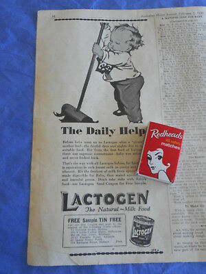 1931 LACTOGEN toddler with broom; tin picture paper advertisement THE DAILY HELP